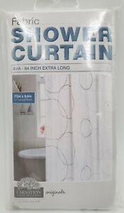 "Carnation Home Fashions Fabric Shower Curtain 70"" x 84"" Extra Long AVA Circles"