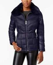 Kenneth Cole  Women Faux-Fur-Collar Down Puffer Coat Navy XL $200 #43-75