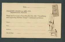Ca 1944 Indianapolis In Diamond Chain&Mfg Co Requests Booklet On Machine Designs
