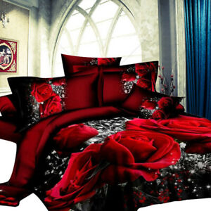 4 PCS 3D Big Red Rose Floral Quilt Doona Duvet Cover Set Pillowcase Bedding AU