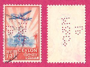 Ceylon 1950 75c Air Mail Stamp Perfin #1404