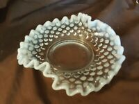 Fenton Art Glass Hobnail French Opalescent Ruffled Nut Dish
