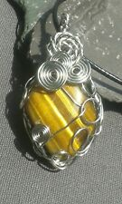 Handmade Natural Yellow Tiger Eye Gemstone Silver Wire Wrap Pendant with cord