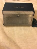 NWT Ladies/Women Cole Haan Benson Shimmer Continental Wallet Anthracite Leather