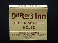 DRIFTER'S INN BEEF & SEAFOOD HOUSE SUNDANCE MALL 215 BANFF 7624525 MATCHBOOK