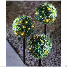 LED Garden Solar Powered Lighting Outdoor Topiary Ball Sphere Stakes Set Of 3