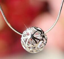 STERLING SILVER HOLLOW LOVE HEART BALL INFINITY PENDANT NECKLACE