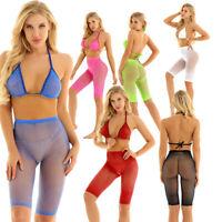 Damen Glänzend Strass Durchsichtig Bikini Set Neckholder BH Top mit Shorts Sexy