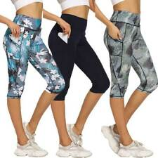 Womens Leggings Capri Yoga Pants Pocket Gym Fitness Workout Exercise Sports Crop
