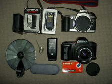 Job lot of classic 35mm film cameras & accessories - Canon, Yashica, Olympus