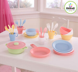 Kidkraft Pastel Plastic Cookware Set | Plastic Play Plates Cups Dishes Spoons