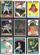 Don Mattingly baseball card lot of 9 different cards 1987-1989 New York Yankees