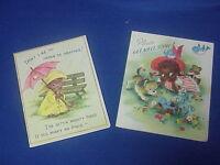 2 UNUSED Vintage GET WELL SOON Cards Folk Art Americana Fairfield 5CH3223 Gatto