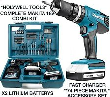 makita Cordless Combi Drill Tool Set Driver 74 Piece Accessory Bit Set Kit 18V