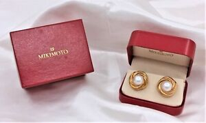Mikimoto 18K Yellow Gold 12.5mm Mabe Pearl Clip Earrings With Box