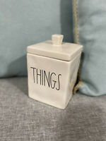"RAE DUNN "" THINGS "" Rare Square Ceramic Canister Holder W/ Lid IVORY LL NEW"