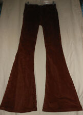 FREE PEOPLE 25 NWT Cinnamon Rust Corduroy Velvet Flare Cell Bottom Pants Jeans