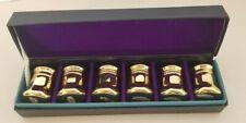 Set Of 6 Individual Salt & Pepper Shakers Gold Tone Made In Japan & original Box