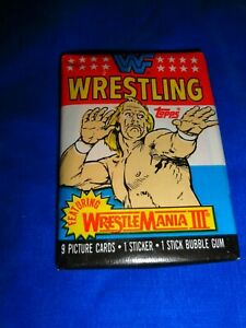 1987 Topps WWF WrestleMania III Wrestling Pack as pictured gum intact