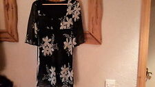 Black and White Floral Chiffon Shimmer Top Size 10 Dunnes Stores