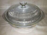 Vintage PYREX #023 Clear Glass 1.5Qt Casserole Bowl w/ Glass Knob Pyrex Lid ~USA