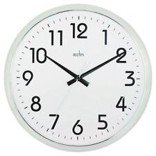 Acctim Chrome/White Orion Silent Sweep Wall Clock 320mm 21287 [ANG21287]