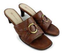 Anne Klein Women AK Size 8 M Brown Slip On Sandal Heel Open Toe Mahotwear Shoes