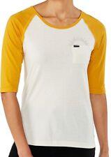 New 2019 Dakine Womens Rikki 3/4 Sleeve Baseball T-Shirt Medium Mineral Yellow