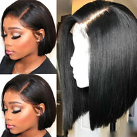 virgin Indian Human Hair Full Wigs BOB Straight Lace Front Wig Natural Hairline