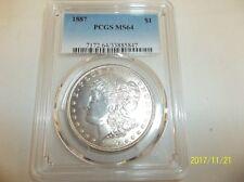 1887 - Morgan Silver Dollar -PCGS MS64 BLAST WHITE