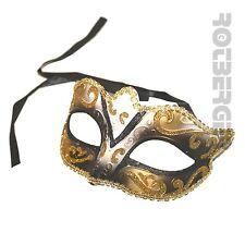 Venezianische Augenmaske Maske gold Glitter schwarz smoked Karneval Maskenball