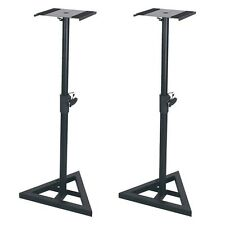 2 x QTX Monitor Speaker Stands Adjustable DJ Studio Monitor Stands Black Steel
