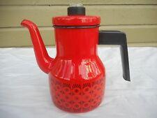 Nice Vintage FINEL Finland Danish Modern Red Daisy Enamel Coffee Pot Kaj Franck
