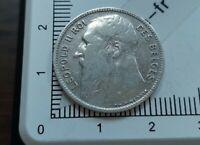H13203 1 franc belge 1909 leopold II français qualité pièce monnaie argent