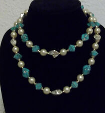 """VINTAGE TURQUOISE / FAUX PEARL  / GOLD  38""""  FASHION NECKLACE"""