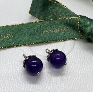 Pandora Silver Purple Amethyst Swirl Compose Earrings #290637AM Authentic Ale
