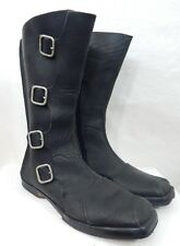 Cydwoq Black Leather Side Buckles Detail Short Flat Boot Inside Partial Zip 37.5
