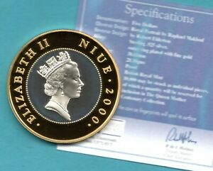 2000 NIUE $5 CROWN COIN, STERLING SILVER WITH GOLD HIGHLIGHTS + CERTIFICATE.