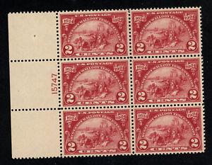 SCOTT 615 1924 2 CENT HUGUENOT WALLOON ISSUE PB OF 6 MH OG VF CAT $60