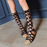 Women's Roman Gladiator Knee High Sandals Flat Heel Boots Lace Up Shoes Fashion