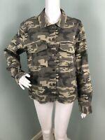 NWT Womens Sanctuary Olive Green Camouflage Snap Front Jacket Sz Medium