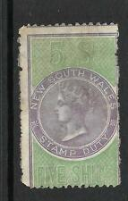 NEW SOUTH WALES 1868-01  5/-   QV   FISCAL  STAMP DUTY  MLH   P12x10
