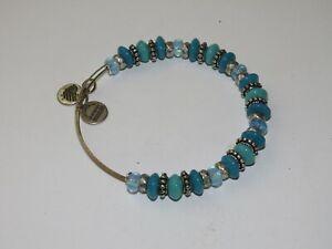 Alex and Ani Blue silver tone expandable bead bracelet