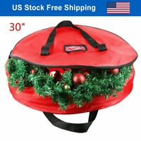 "30"" Wreath Storage Bag Doulbe Sleek Zipper Xmas Holiday Decoration Container"