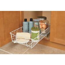 White Sliding Pull-Out Wire Under Cabinet Pantry Kitchen Storage Organizer Shelf