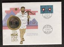 """Numisbrief 5 Franken 1985 Schweiz UNC PP """"Der NEUE Fünflieber"""" Stempel 1986"""