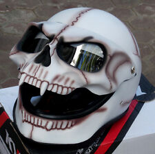 Motorcycle Helmet Skull Monster Death Bones Ghost Rider Visor Full Face New