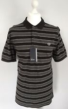 BNWT Fred Perry Three Colour Grey/Black Stripe Polo Shirt Large (L)