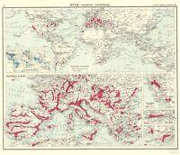 Global Wine Growing Countries - Bartholomew 1907 - 23.00 x 26.74
