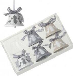 Set 6 Hanging Bells. Grey White& Beige. Reindeer & Tree Design Xmas Decorations